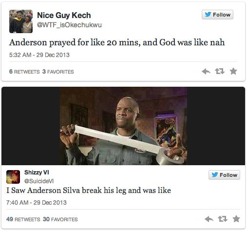 anderson 4 Twitters Unsympathetic Reaction To Anderson Silva Breaking His Leg