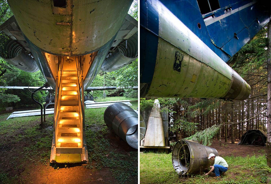 retired boeing 727 recycled home bruce campbell 5 This Man Lives In A Boeing 727 In The Middle Of The Woods