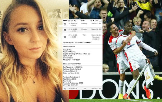 122 Girl Accidentally Bets On MK Dons Beating Man Utd 4 0, Wins £1250