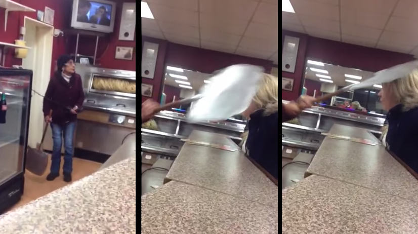 Girl Hilariously Takes Shovel To The Head In Takeaway Shop Argument 14