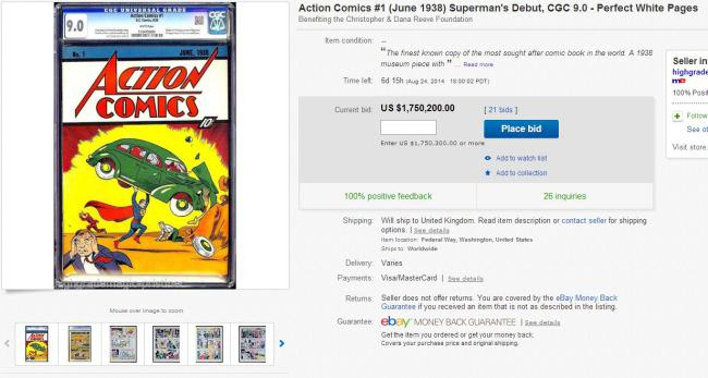 action comics Comic Featuring Supermans Debut On eBay For $1 Million