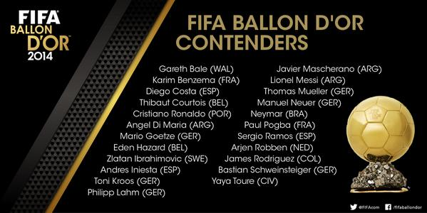 Ballon d'Or 2014: FIFA Announce 23 Man Shortlist %name