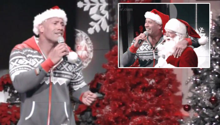 rock 2 web thumb The Rock Does Christmas Karaoke In A Onesie And Its Actually Good