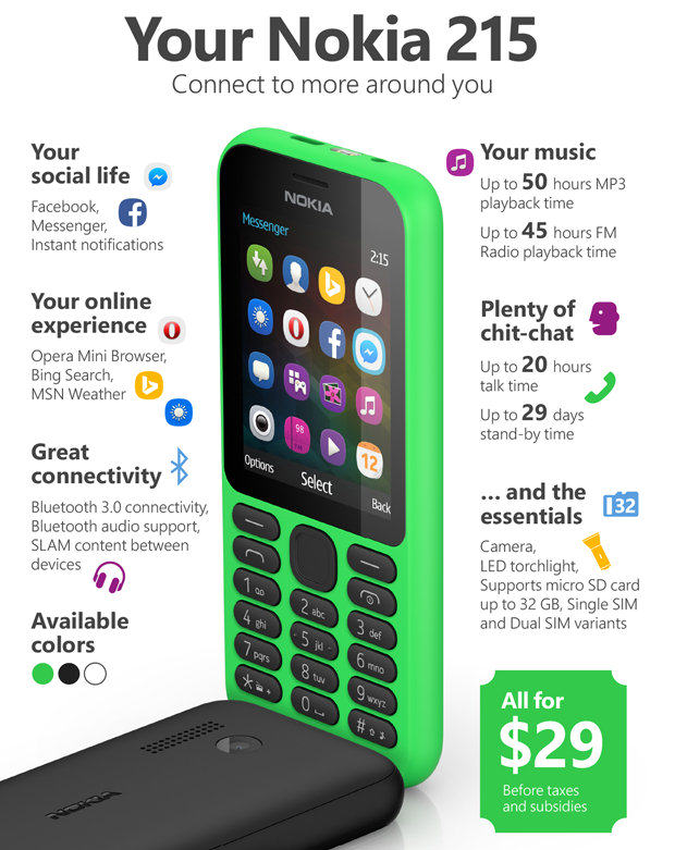 The Trusty Nokia Is BACK, And Its Battery Will Last 1 Month Nokia 215 phone 182519
