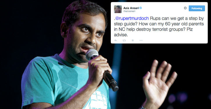 aziz fb thumb Rupert Murdoch Got Racist And Aziz Ansari Dealed With It Like A Boss