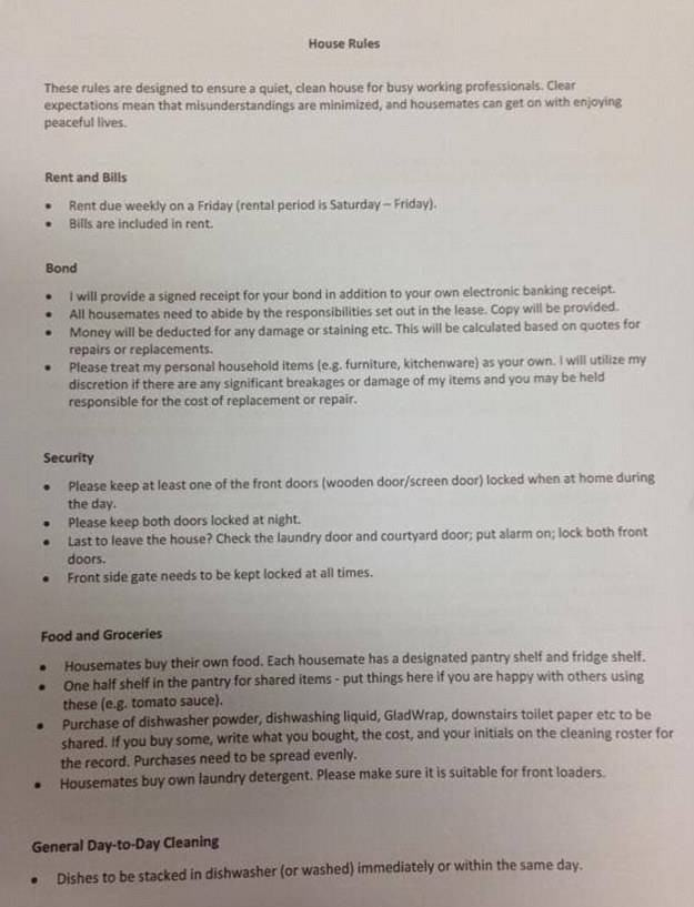 Lad Handed An Intense 2 Page Rulebook By His House Mate rude rules 1
