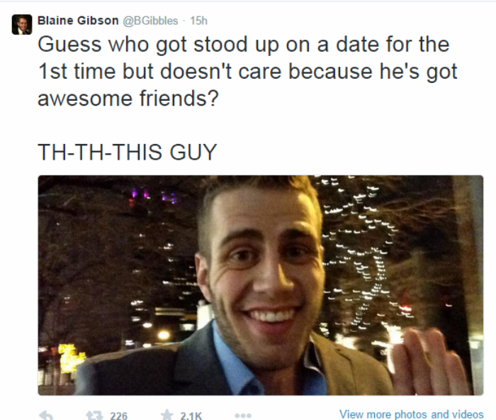 2 Guys Date Stands Him Up, So He Shares A Date With Twitter