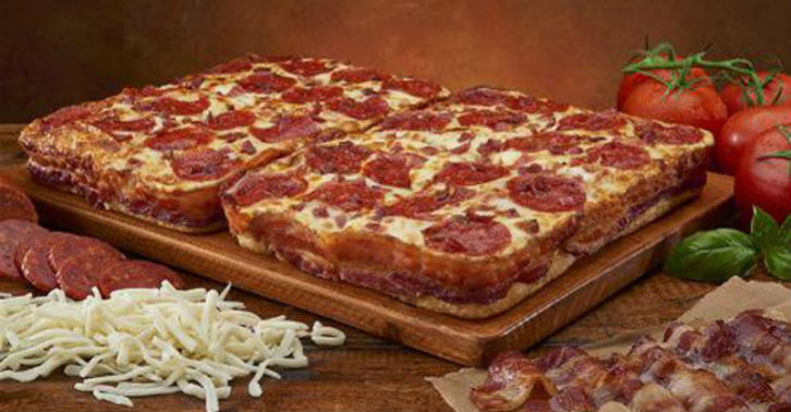 bacon wrapped pizza This Pizza Is Wrapped In Three And A Half Feet Of Bacon