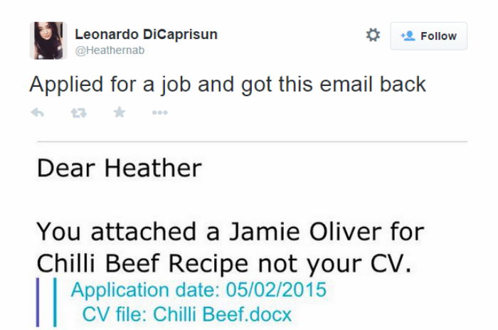 This Girl Applied For An Estate Agent Job... With A Chilli Con Carne Recipe cv