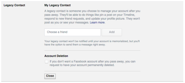 facebook legacy contact death new security feature You Can Now Pick Who Controls Your Facebook Profile When You Die