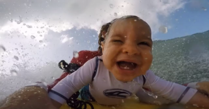 esdrfghnjkm GoPro Footage Shows A 9 Month Old Baby Loving Life On The Ocean Waves
