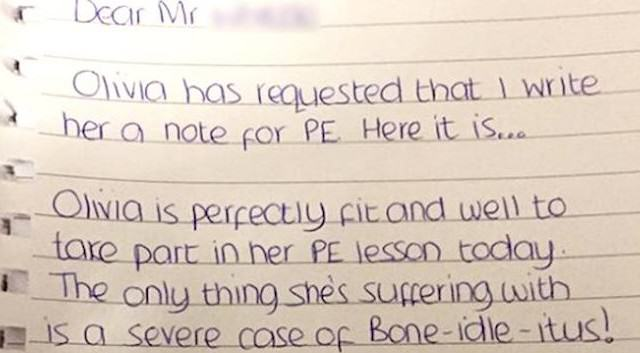 pe 640x353 School Girl Asks Mum For Note To Get Out Of P.E, Gets Epic Response