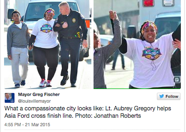 race 600x426 Policeman Helps Woman Finish Final Lap Of 10k Race To Celebrate Weight Loss