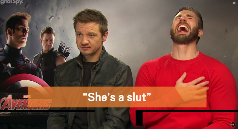 Avengers Fans Fuming After Jeremy Renner And Chris Evans Call Black Widow A Slut avengers