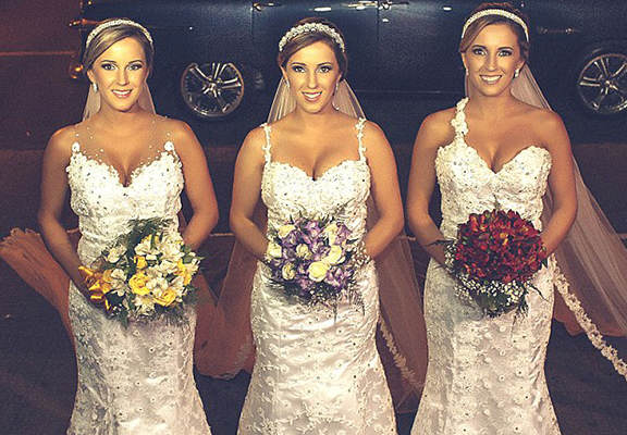 Identical Triplets Get Married At Same Time, Confuse Grooms And Everyone Else bride web