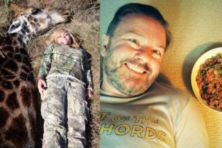 Ricky Gervais Mocks Hunter After She Kills A Giraffe And Poses Next To It