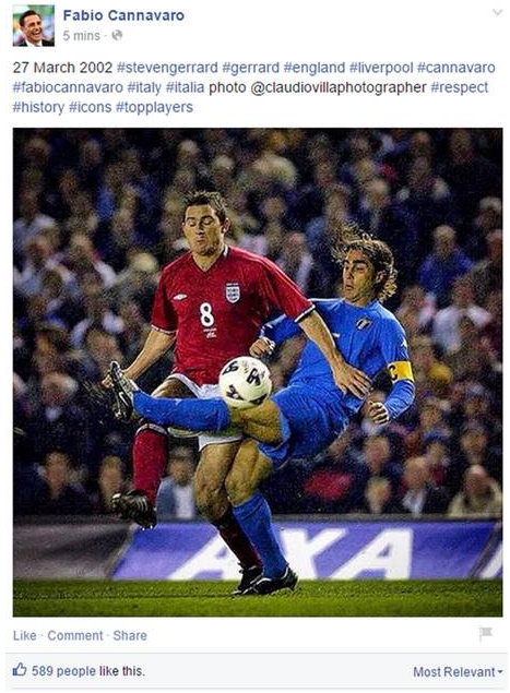 LampardGerrard confusion Cannavaro Fabio Cannavaro Pays Tribute To Steven Gerrard, Epically Fails By Using Lampard Picture