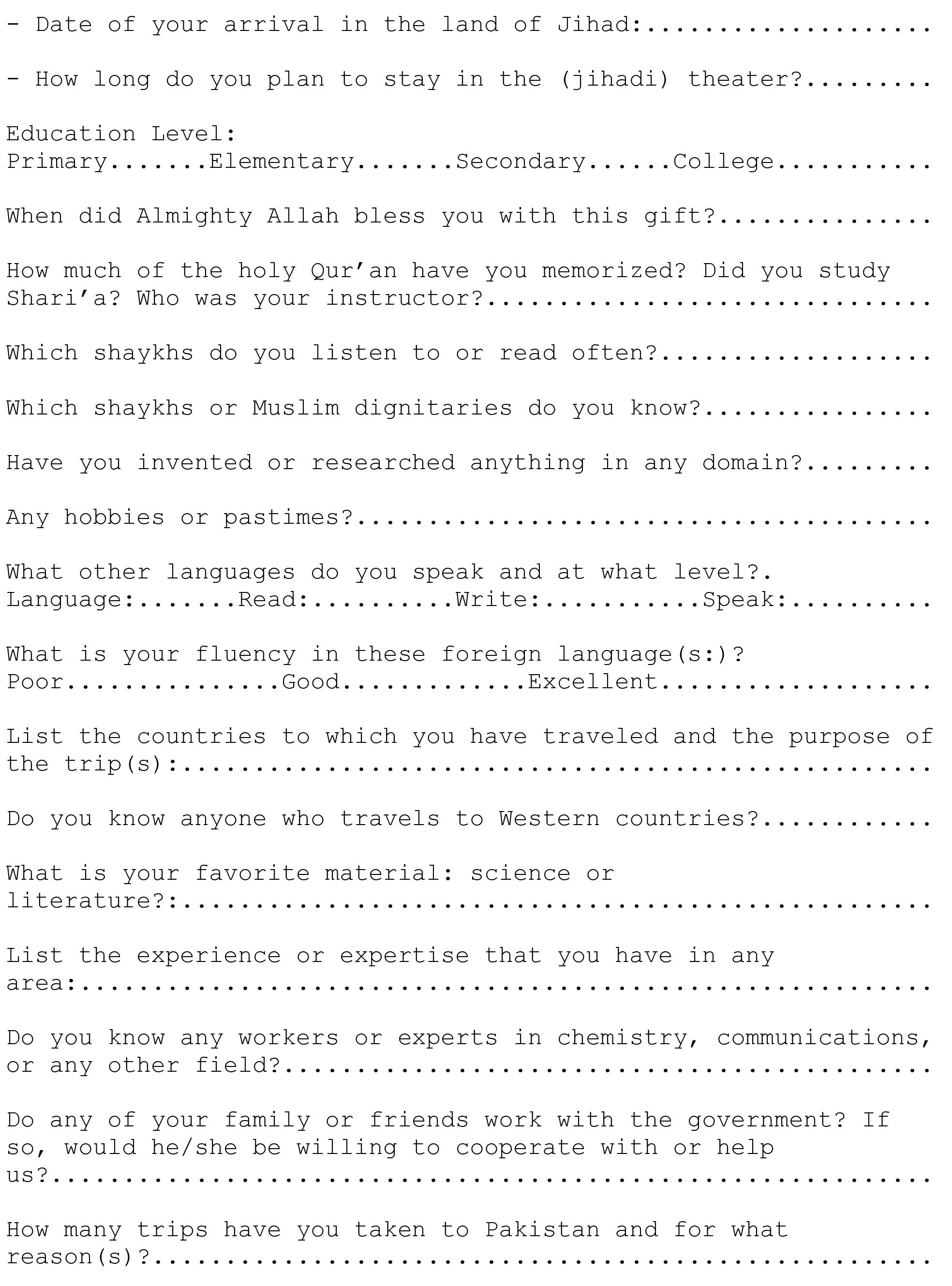 instructions to applicants 2 Ever Wondered What An Al Qaeda Job Application Form Looks Like?