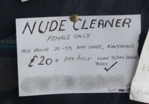 nude web Man Wants Nude Cleaner, Advertises For One And Will Pay £20 Per Hour