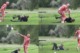 Man Eating A Burger Attacked By Meat-Suit Wearing Vegetarian