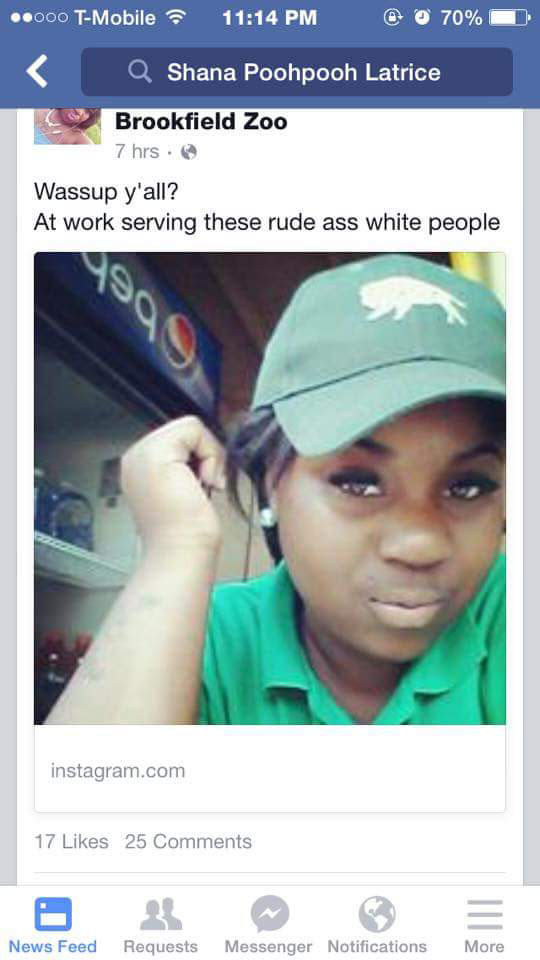 Shana Poohpooh Latrice Zoo Employee Sacked Over Facebook Post About Rude White People