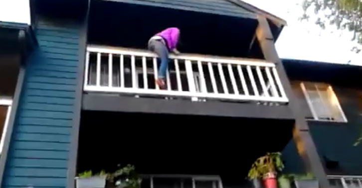 balcony 2 Girl Tries To Climb Down Balcony, Obviously Does Not End Well