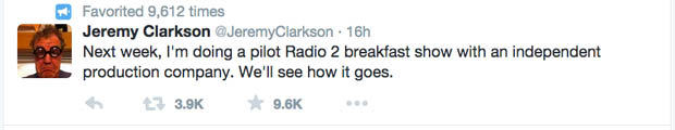top gear tweet 1 Jeremy Clarkson Takes Shot At Chris Evans On Twitter After He Reveals Filming For New Top Gear