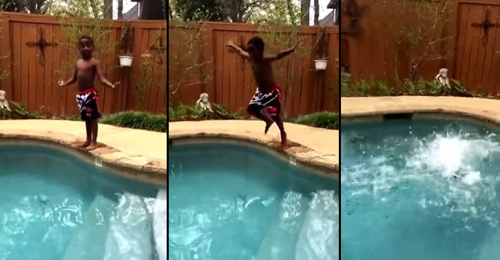 TN174 This Kid Pumping Himself Up To Jump Into Pool Is Self Motivation At Its Best