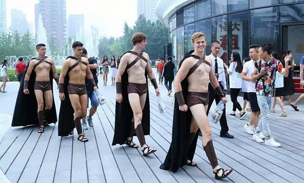 Warriors imaginechina  Army Of Half Naked Spartan Warriors Repelled By Chinese Police On Streets Of Beijing
