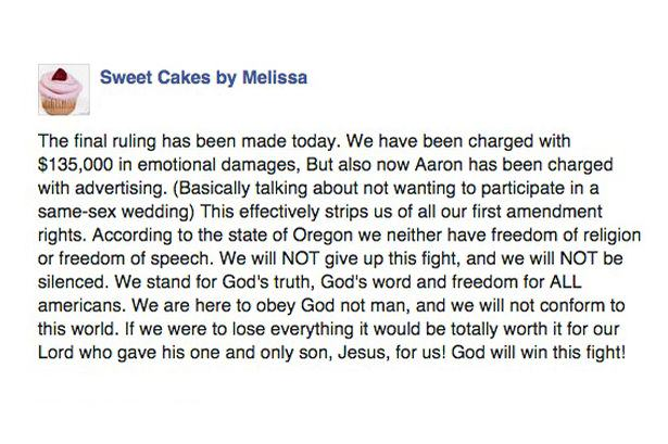 anti gay bakery 2 Bakery Owners Ordered To Pay Lesbian Couple £86,000 In Damages