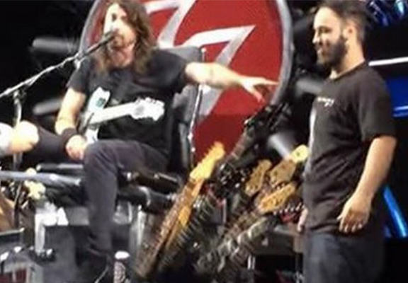 Dave Grohl Brings Fan On Stage To Play Drums For His 18th Birthday grohl fan WEB
