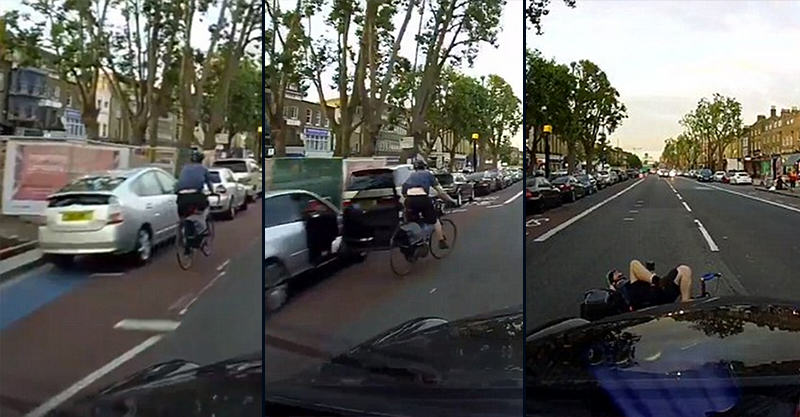 KDhXdkcfI Shocking Moment Cyclist Swerves Car Door And Gets Hit By Taxi