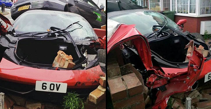 Driver Hired £200,000 Ferrari For Wedding Then Smashed It Into House UNILAD ferrari crash WEB 28