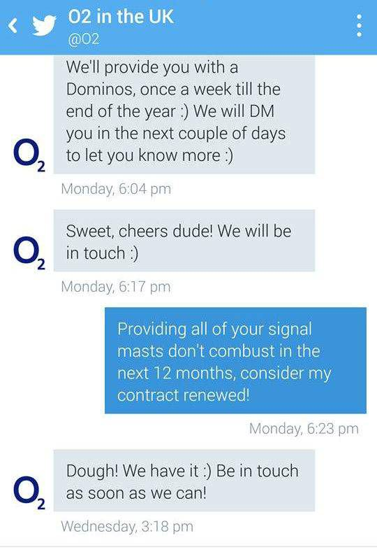 UNILAD o2 pizza 2 28 This Guys Twitter Antics Just Bagged Him Free Pizza For Rest Of Year
