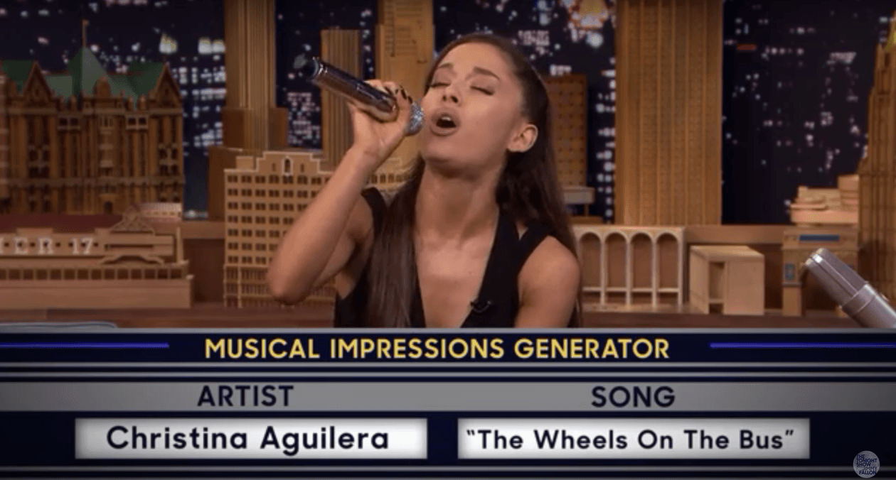 UNILAD Screen Shot 2015 09 16 at 19.56.288 Ariana Grande Nails Britney And Christina Impressions On The Tonight Show