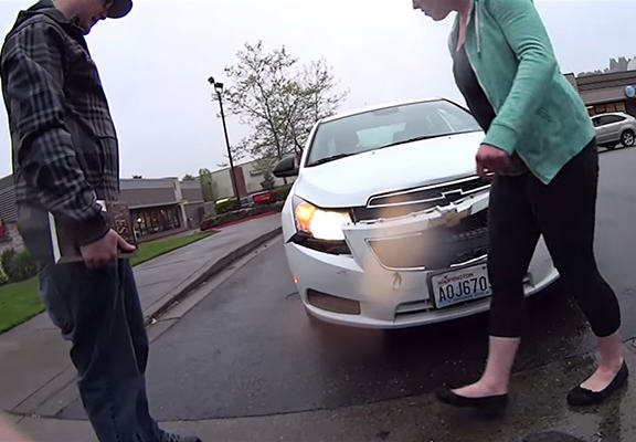 UNILAD car totaled WEB2 Woman Pulls Out Of Junction, Blames Guy For Totalling Her Car