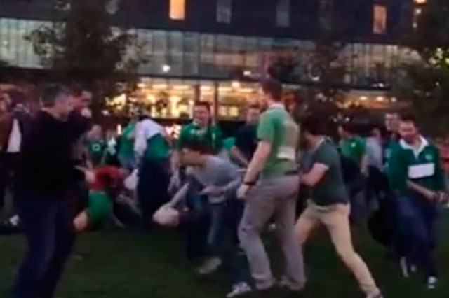 rugby2 640x426 WATCH: Drunk Irish Fans Play A Huge Game Of Rugby Outside Wembley