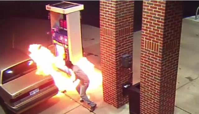 WATCH: Man Attempts To Kill A Spider With Fire At A Gas Station