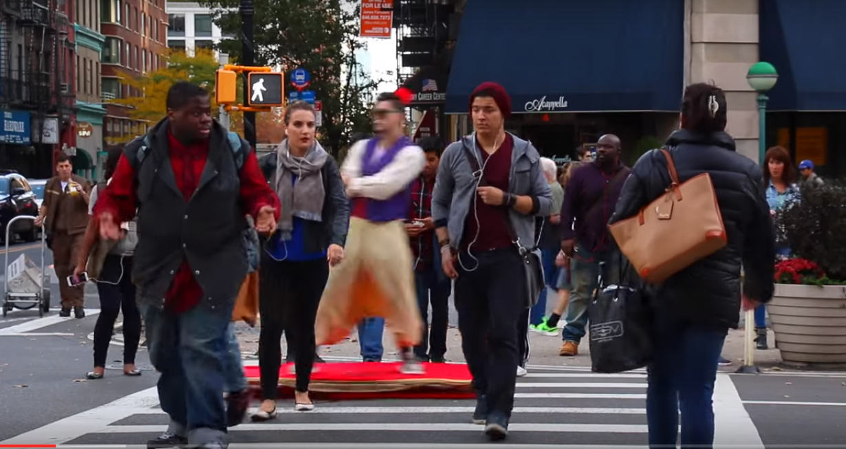 UNILAD 440506 Guy Cruises Streets Of NYC In Epic Aladdin Magic Carpet Costume