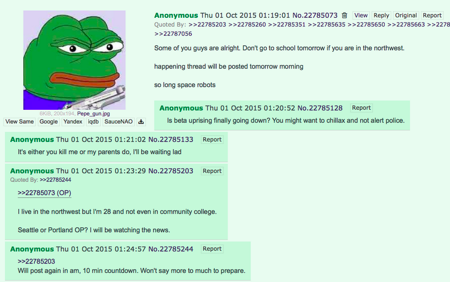 Sinister Anonymous 4Chan Post Before Oregon Shooting Being Investigated UNILAD Screen Shot 2015 10 02 at 16.36.555