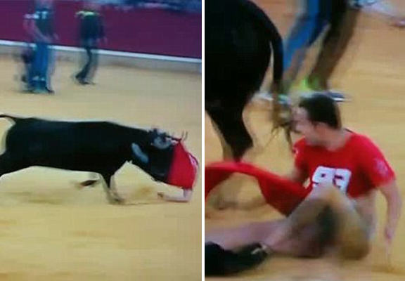 UNILAD bull pants WEB80093 Bull Runner Caught With Pants Down When Animal Rips Off His Trousers And Underwear