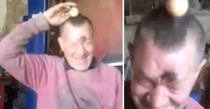 UNILAD egg prank 965741829 Mechanic Cracks Up When He Realises Prankster Mates Have Superglued An Egg To His Head