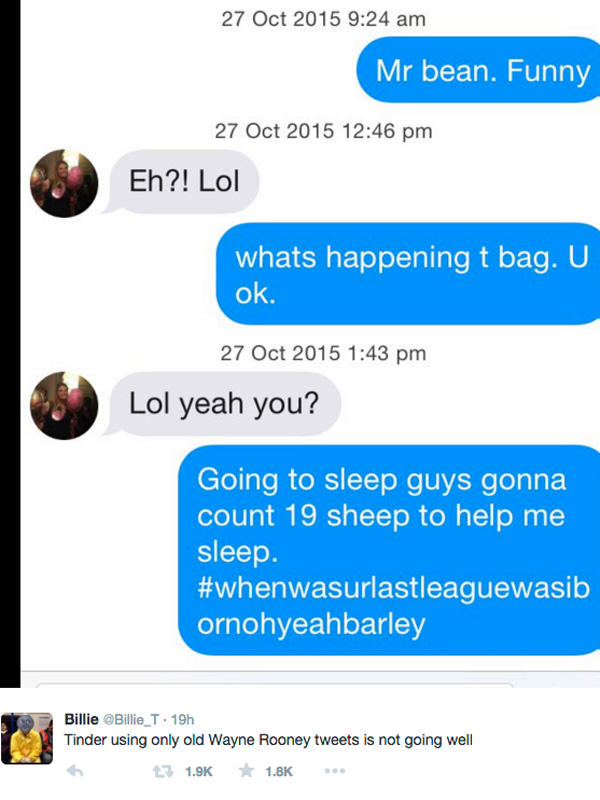 UNILAD tinder rooney 265360 Tinder User Messaged Girls Using Only Wayne Rooney Tweets, It Didnt Go Well