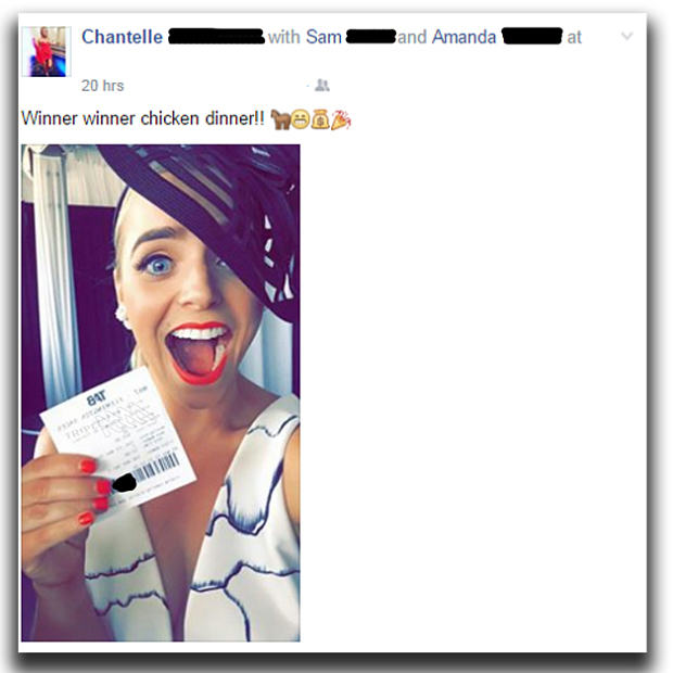 UNILAD 93373ooktriplem49734 Woman Posts Her Winning Horse Race Ticket On Facebook, Friend Steals Cash