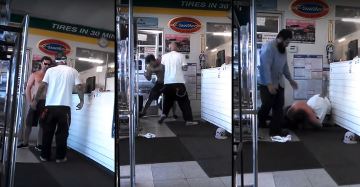 Two Guys Fight In A Tyre Shop, No One Comes Out Looking Good UNILAD FaceThumb32319