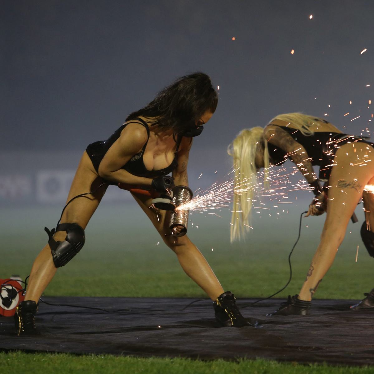 Mayor Hired Leather Clad Stunt Women For Family Bonfire Night Display UNILAD SWNS SPARKS 01970677