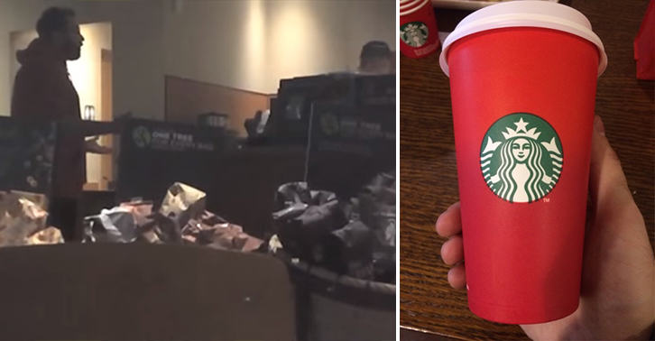 Guy Goes F*cking Nuts At Starbucks Staff, Claims Terrorists Are Winning UNILAD red cup 7290652151