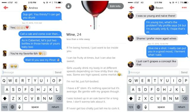 tinder wine Lad Joins Tinder As A Chatty Glass Of Wine