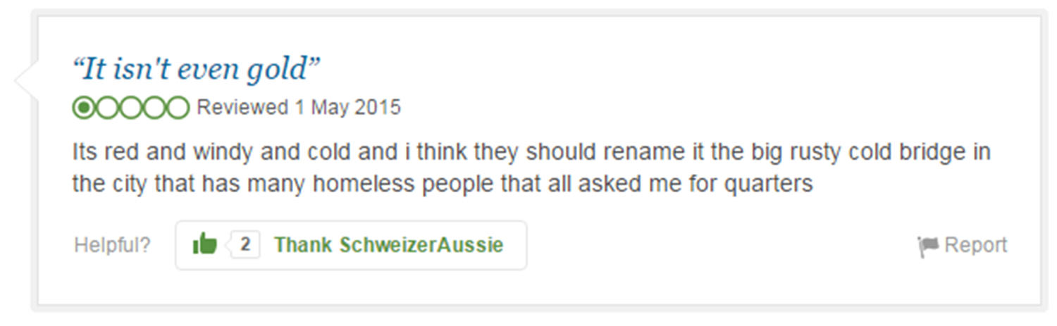 trip advisor review 7 Eight Of The Funniest Trip Advisor Reviews Of Worlds Most Famous Landmarks