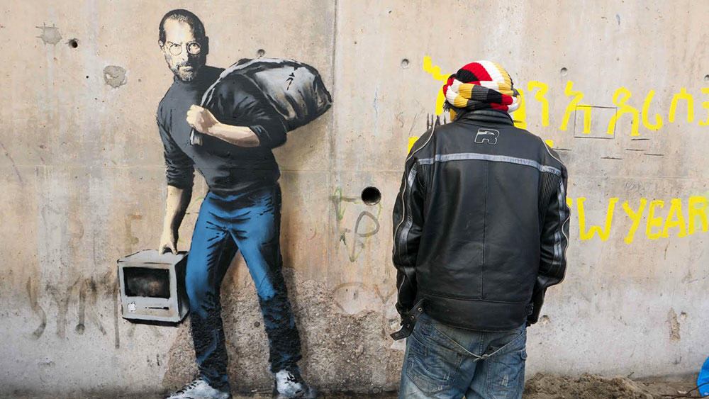 Banksy 3 Why Banksy Painted Portrait Of Steve Jobs At Calais Refugee Jungle